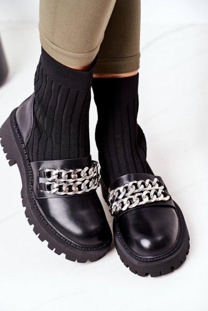 Členkové topánky na podpätku farba čierna kód obuvi NC1231 BLK