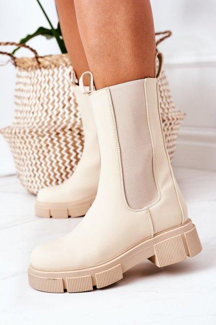 Členkové topánky na podpätku farba hnedá kód obuvi QT16 BEIGE