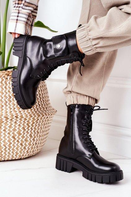 Členkové topánky na podpätku farba čierna kód obuvi UK50 BLACK