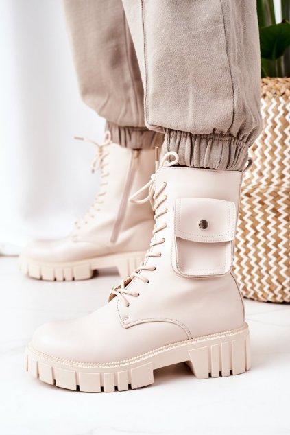 Členkové topánky na podpätku farba hnedá kód obuvi UK50 BEIGE