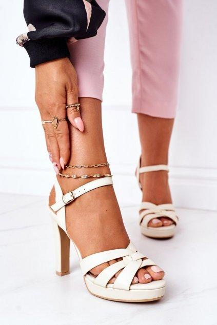 Dámske sandále farba hnedá kód obuvi S-881 BEIGE
