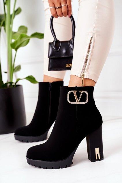 Členkové topánky na podpätku farba čierna kód obuvi NS165 BLACK