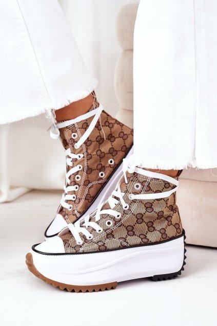 Dámske tenisky farba biela kód obuvi G-11 BROWN
