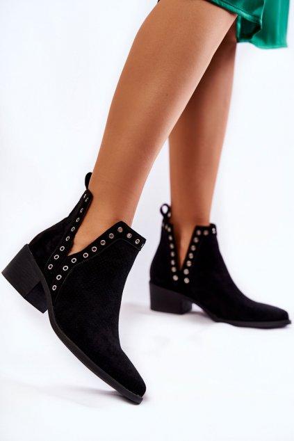 Členkové topánky na podpätku farba čierna kód obuvi B-535 BLACK