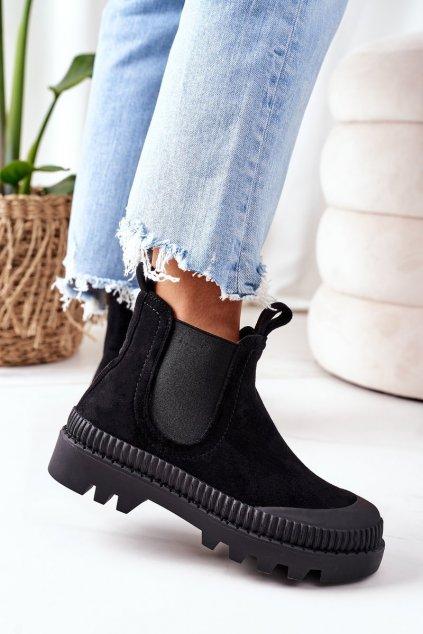 Členkové topánky na podpätku farba čierna kód obuvi G-341 BLACK
