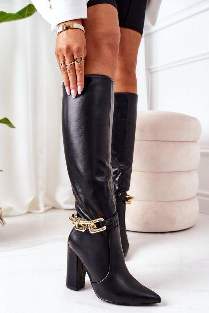Dámske čižmy farba čierna kód obuvi 588-1 BLACK