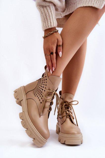 Členkové topánky na podpätku farba hnedá kód obuvi 4083-L BEŻ LICO