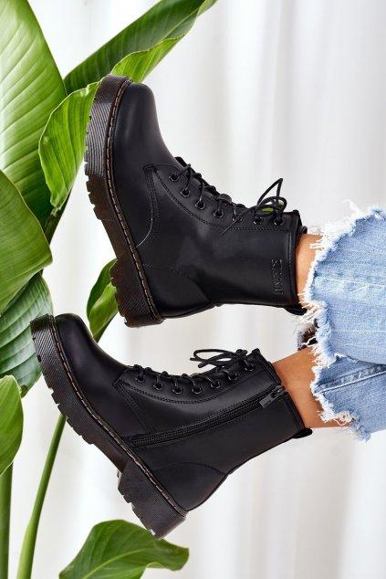 Členkové topánky na podpätku farba čierna kód obuvi II274105 BLACK