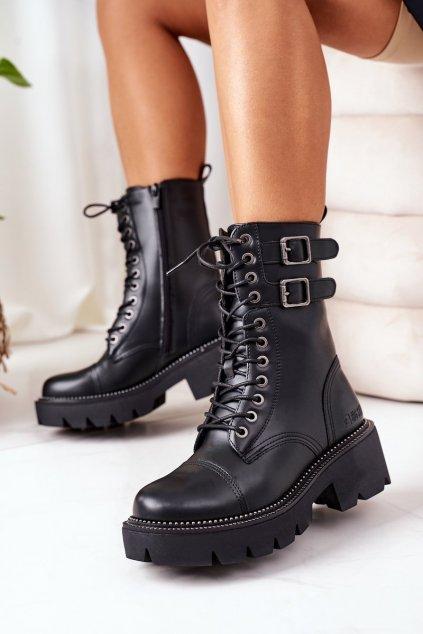 Členkové topánky na podpätku farba čierna kód obuvi II274113 BLACK
