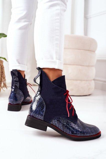 Členkové topánky na podpätku farba modrá kód obuvi 4083 GRANAT+ZAMSZ