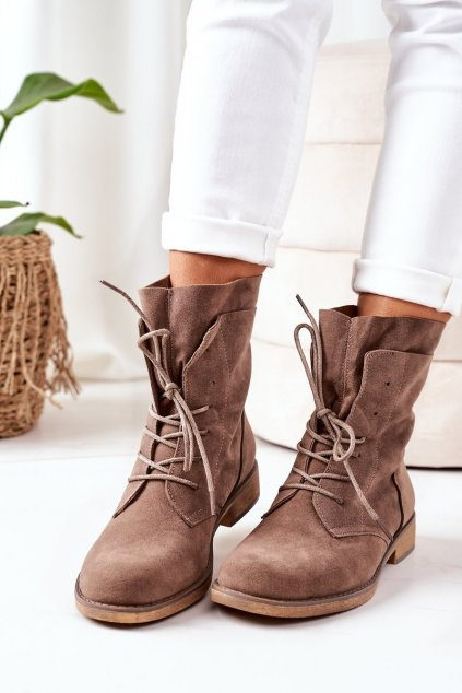 Členkové topánky na podpätku farba hnedá kód obuvi NC1198 KHAKI