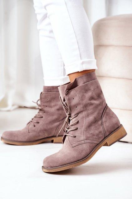 Členkové topánky na podpätku farba sivá kód obuvi NC1198 GREY