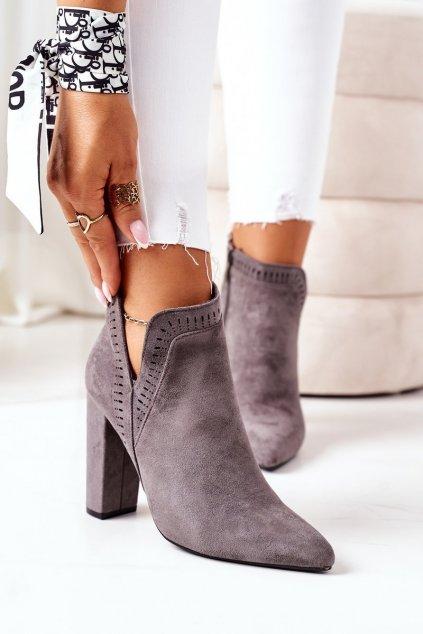 Členkové topánky na podpätku farba sivá kód obuvi UK33 GREY