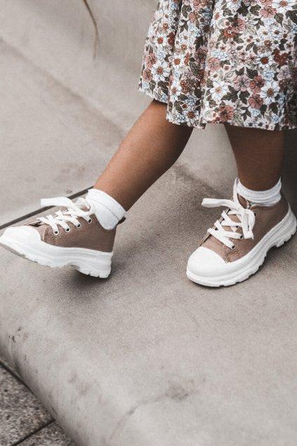 Detské tenisky farba hnedá kód obuvi 808-E KHAKI
