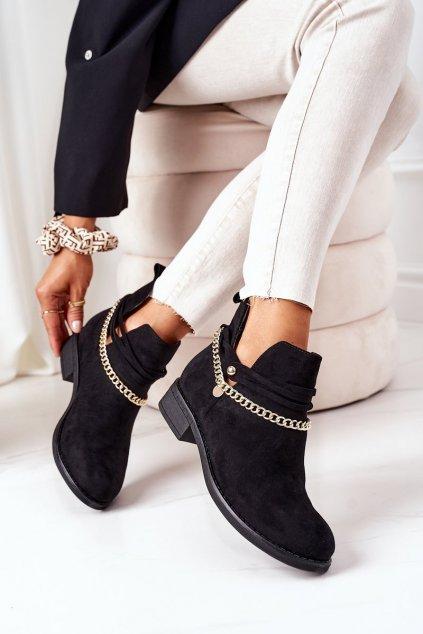 Členkové topánky na podpätku farba čierna kód obuvi ST-71 BLACK