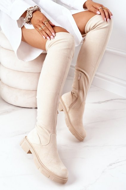 Dámske čižmy farba hnedá kód obuvi YK09 BEIGE