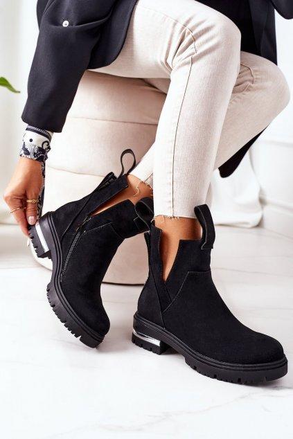 Členkové topánky na podpätku farba čierna kód obuvi NC1162 BLACK