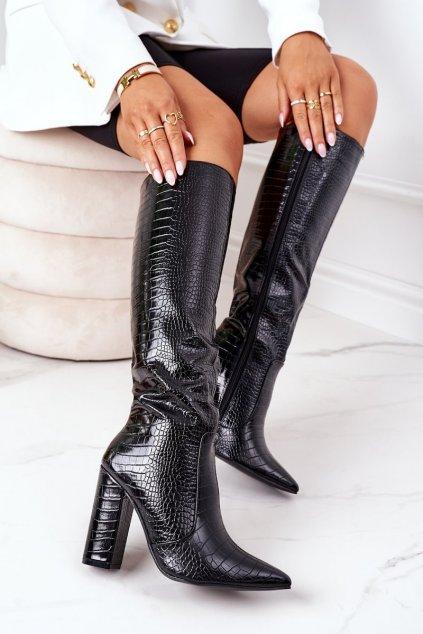 Dámske čižmy farba čierna kód obuvi C-132 BLACK