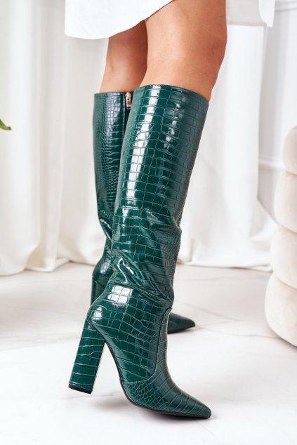 Dámske čižmy farba zelená kód obuvi C-132 GREEN