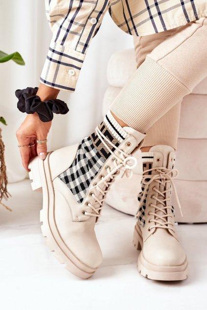 Členkové topánky na podpätku farba hnedá kód obuvi LQ-6 BEIGE