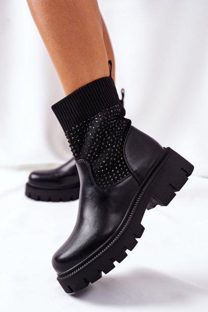 Členkové topánky na podpätku farba čierna kód obuvi LQ-27 BLK