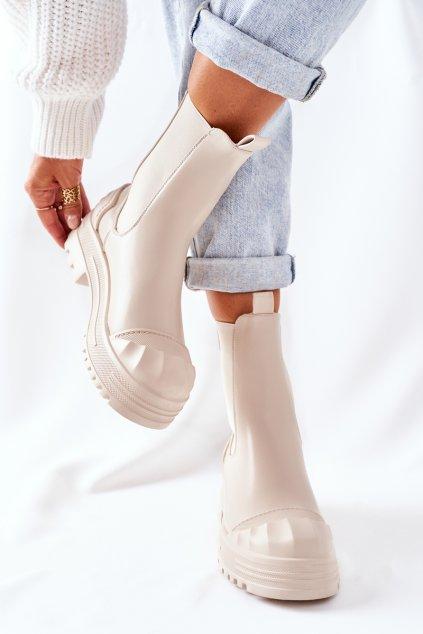 Členkové topánky na podpätku farba hnedá kód obuvi C-199 BEIGE