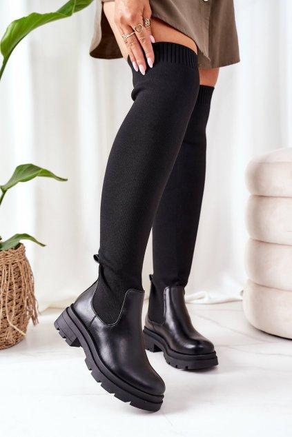 Dámske čižmy farba čierna kód obuvi LQ-15 BLACK