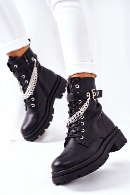 Členkové topánky na podpätku farba čierna kód obuvi RQ381 BLACK