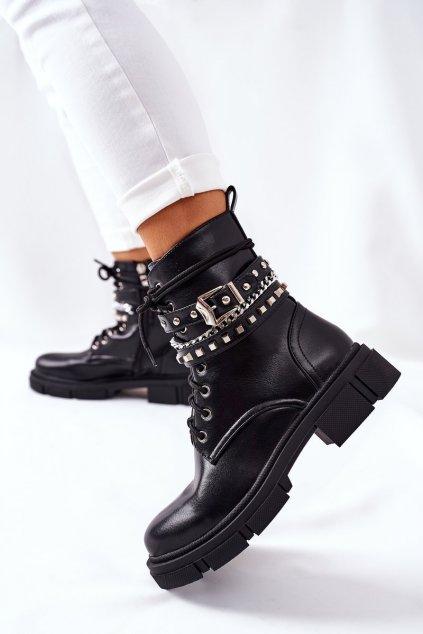 Členkové topánky na podpätku farba čierna kód obuvi CLS-182 BLACK