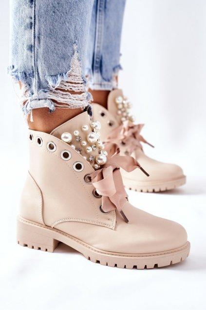 Členkové topánky na podpätku farba hnedá kód obuvi C-7221 BEIGE