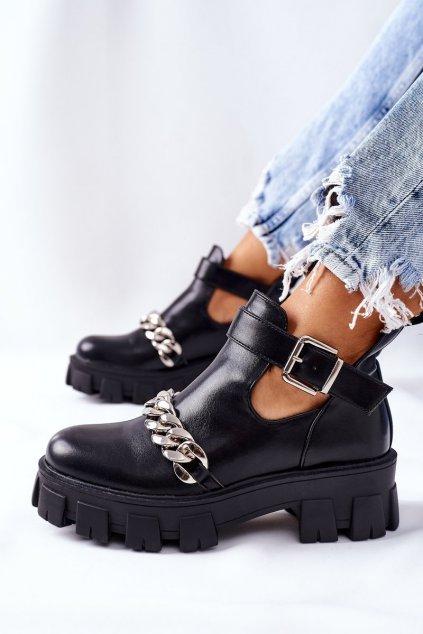 Členkové topánky na podpätku farba čierna kód obuvi 8362 BLK