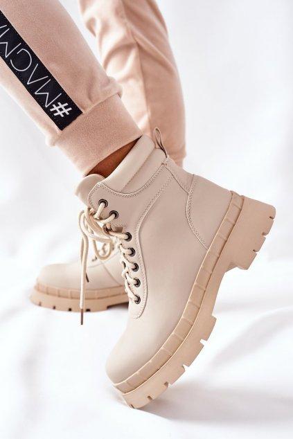 Členkové topánky na podpätku farba hnedá kód obuvi 8538A BEIGE