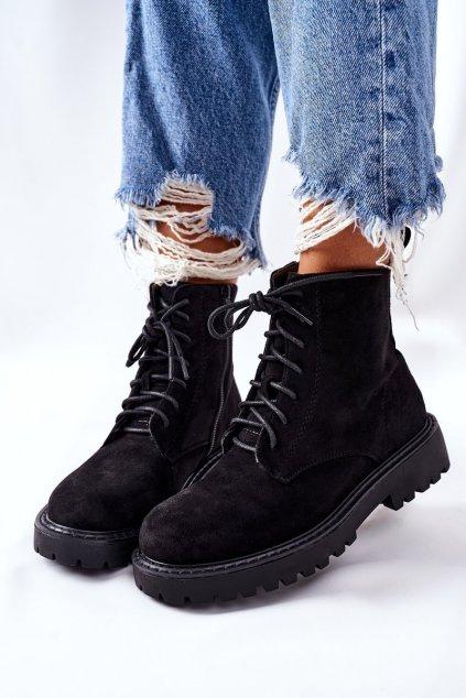 Členkové topánky na podpätku farba čierna kód obuvi 1891-5 BLACK
