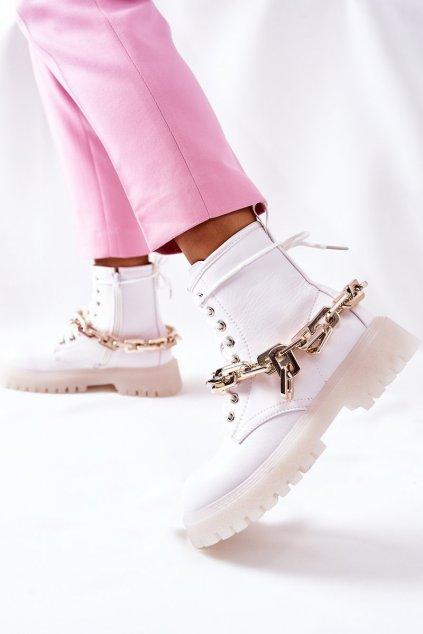 Členkové topánky na podpätku farba biela kód obuvi 8533 WHITE