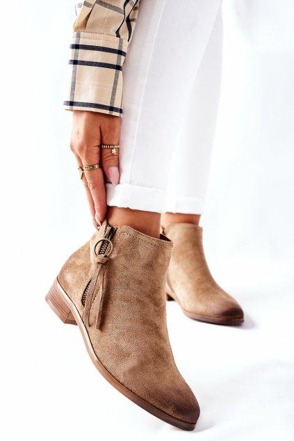 Členkové topánky na podpätku farba hnedá kód obuvi 22-10615 BEIGE