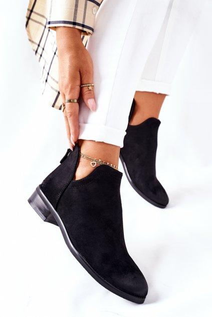 Členkové topánky na podpätku farba čierna kód obuvi 22-10617 BLACK