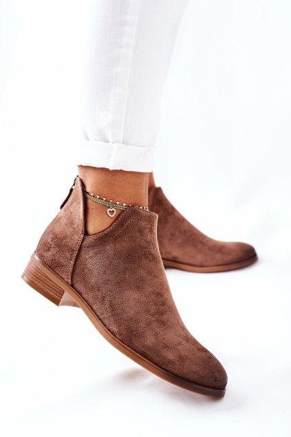 Členkové topánky na podpätku farba hnedá kód obuvi 22-10617 BEIGE