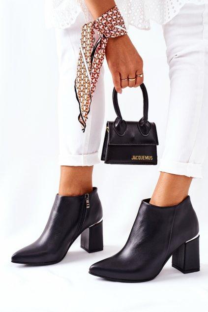 Členkové topánky na podpätku farba čierna kód obuvi 1805 BLK LICO