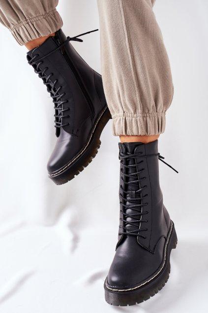 Členkové topánky na podpätku farba čierna kód obuvi 201-67 BLK
