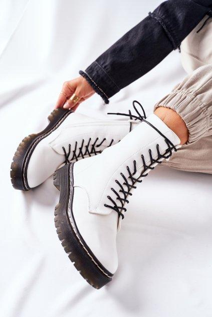 Členkové topánky na podpätku farba biela kód obuvi 201-67 WHITE
