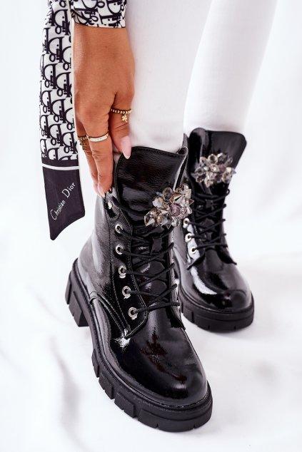 Členkové topánky na podpätku farba čierna kód obuvi 223-71 BLK