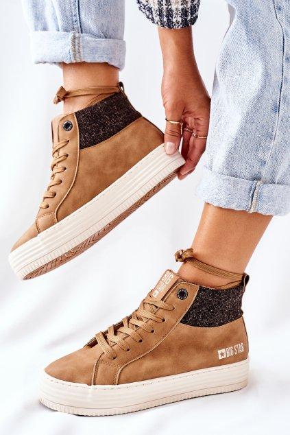 Dámske tenisky farba hnedá kód obuvi II274145 CAMEL