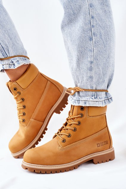 Členkové topánky na podpätku farba hnedá kód obuvi II274447 CAMEL