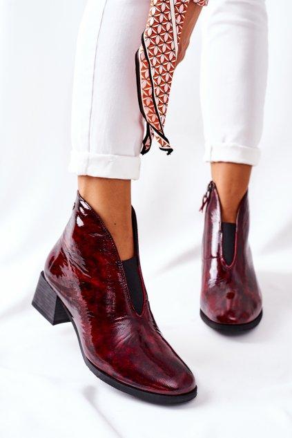 Členkové topánky na podpätku farba červená kód obuvi 04777-23/00-3 BORDO