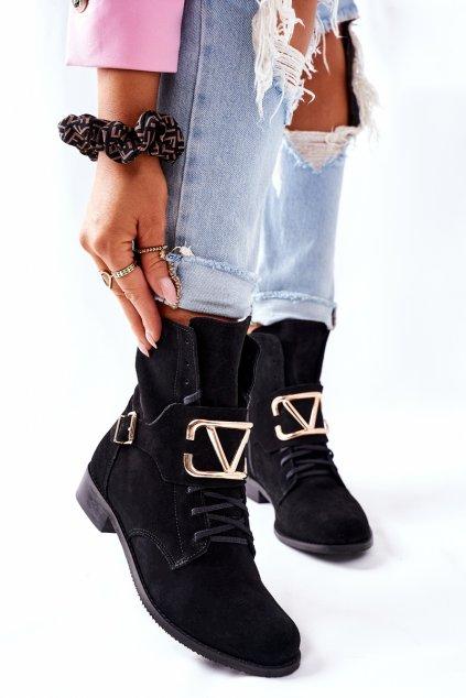 Členkové topánky na podpätku farba čierna kód obuvi 2676 028 BLK