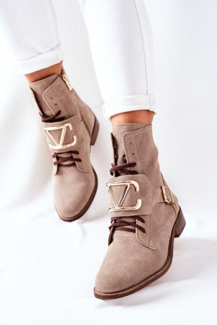 Členkové topánky na podpätku farba hnedá kód obuvi 2676 024 CAPPUCCINO