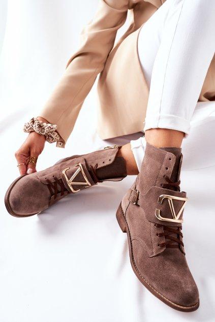 Členkové topánky na podpätku farba hnedá kód obuvi 2676 032 BROWN