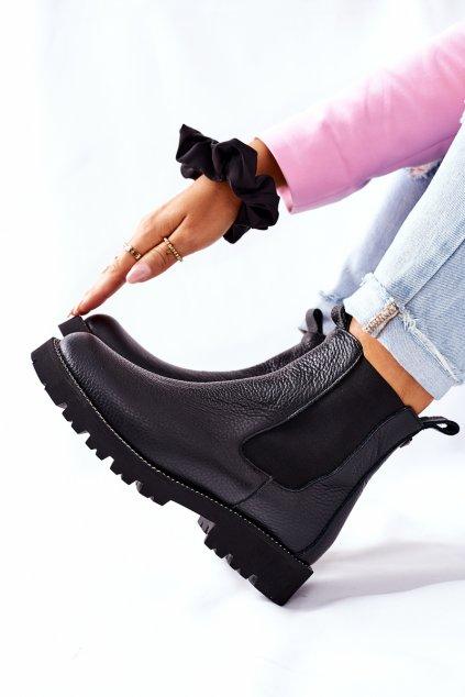 Členkové topánky na podpätku farba čierna kód obuvi 2672 057 BLK