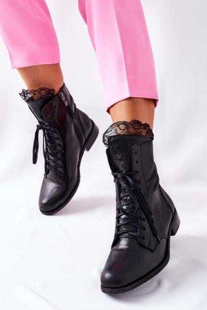 Členkové topánky na podpätku farba čierna kód obuvi 2193 037 BLK