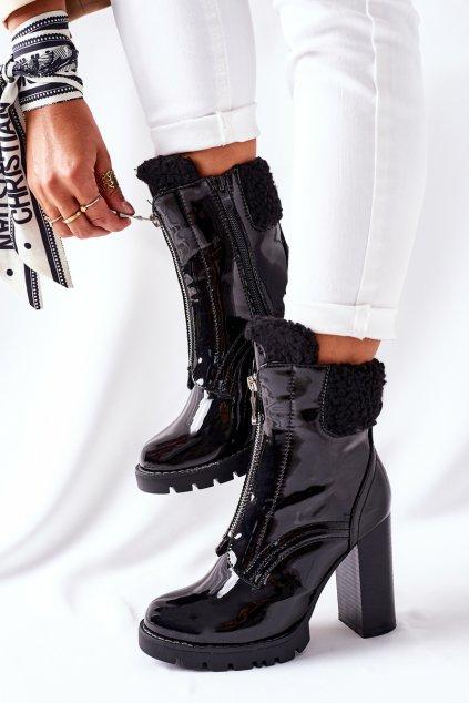 Členkové topánky na podpätku farba čierna kód obuvi M538 BLK